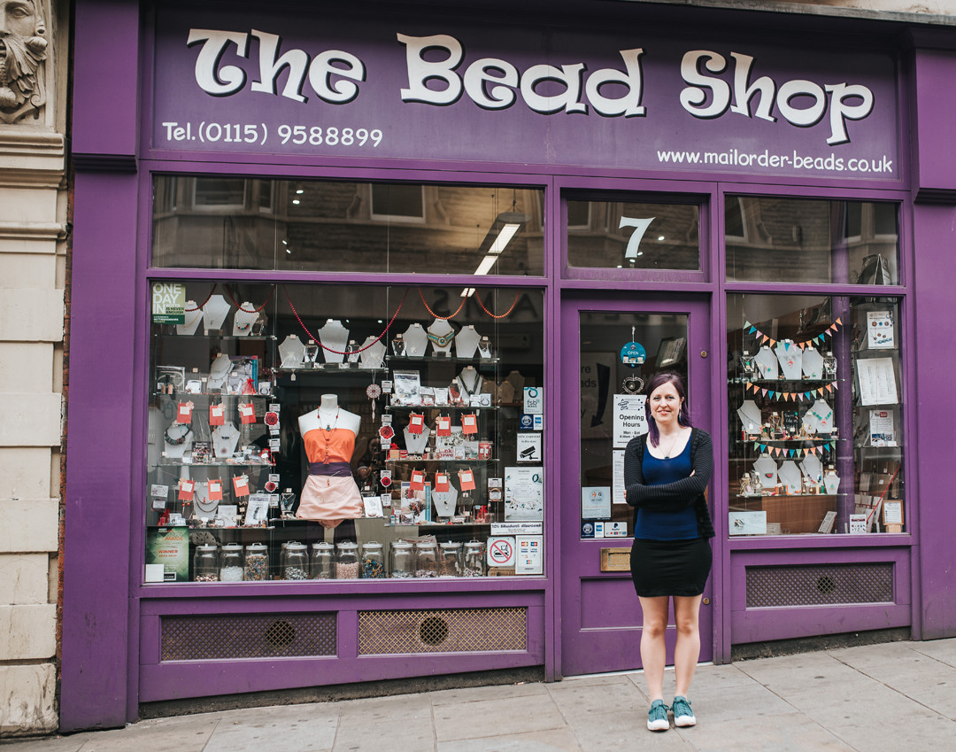 Hana Glover outside The Bead Shop Nottingham