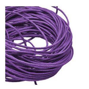 1mm Waxed Cotton Cord Purple - 1m