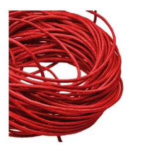 1mm Waxed Cotton Cord Red - 1m