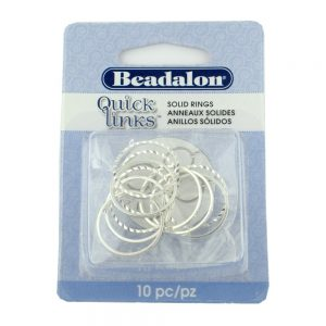 Quicklink Diamond Cut Medium Round Silver Plated
