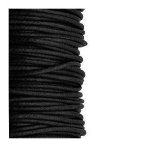 2mm Waxed Cotton Cord Black - 1m