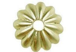 6mm Fluted Cup Bead Cap Gold Plated