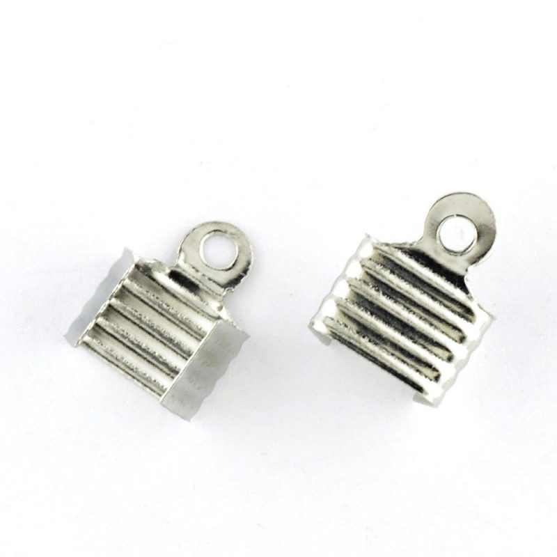 7mm Fold Over Ribbon End Silver Plated