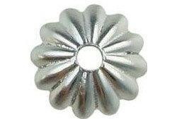 8mm Fluted Cup Bead Cap Silver Plated