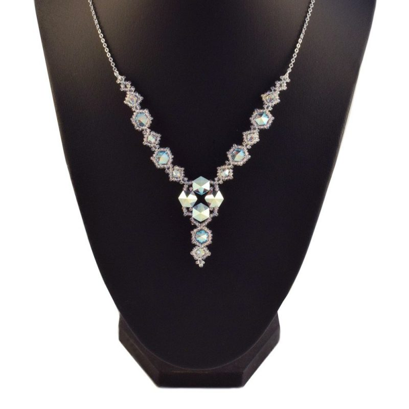 Swarovski Hexi Necklace in the Frost (Crystal) colourway