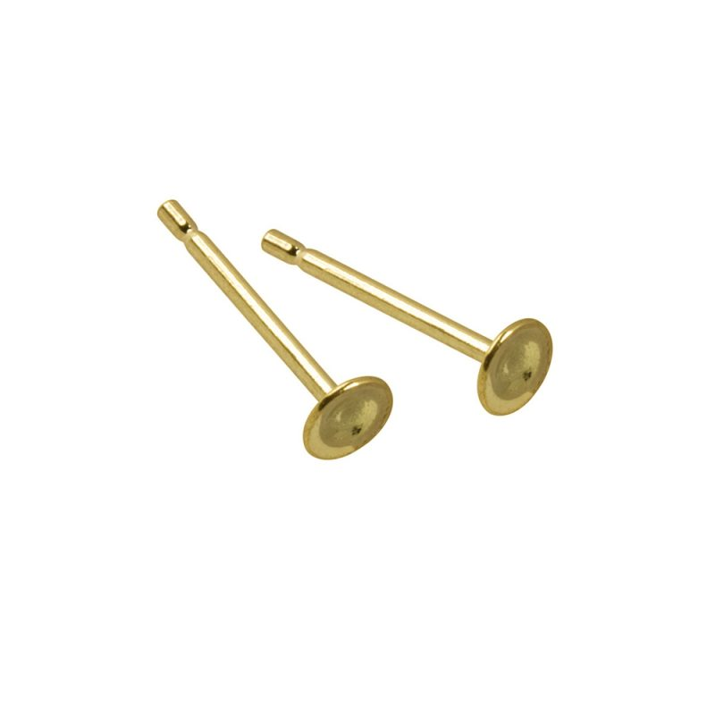 Gold plated 3mm flat pad ear studs