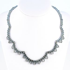 Vintage Style Lace Necklace in the Haematite colourway