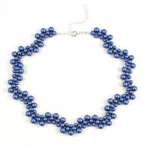 Vintage Style Swarovski Pearl Necklace Kit Iridescent Dark Blue