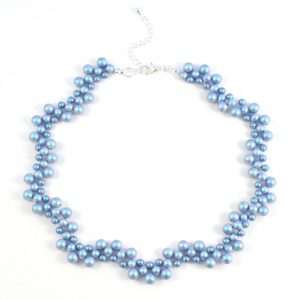 Vintage Style Swarovski Pearl Necklace Kit in the Iridescent Light Blue colourway