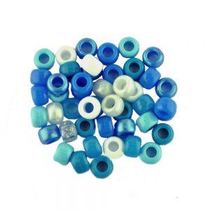 Plastic Pony Bead Blue Mix