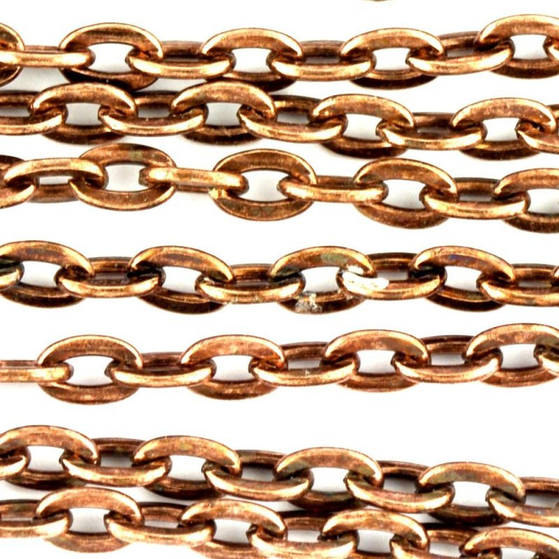 Flat Oval Chain Copper Coloured