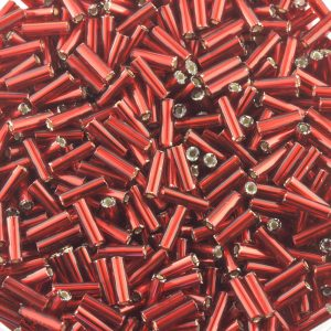 Czech glass 7mm bugles beads in silver lined red