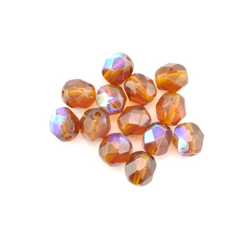 4mm Round Faceted Glass Beads 2046 Brown AB