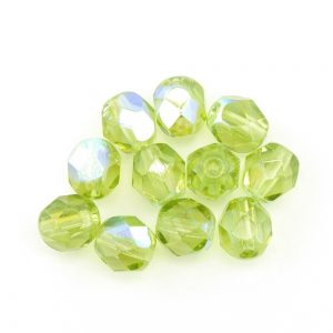 6mm Round Faceted Glass Beads 8320 Green AB