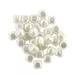 Shaped Glass Pearl Beads 8850 Ivory Small Cubes