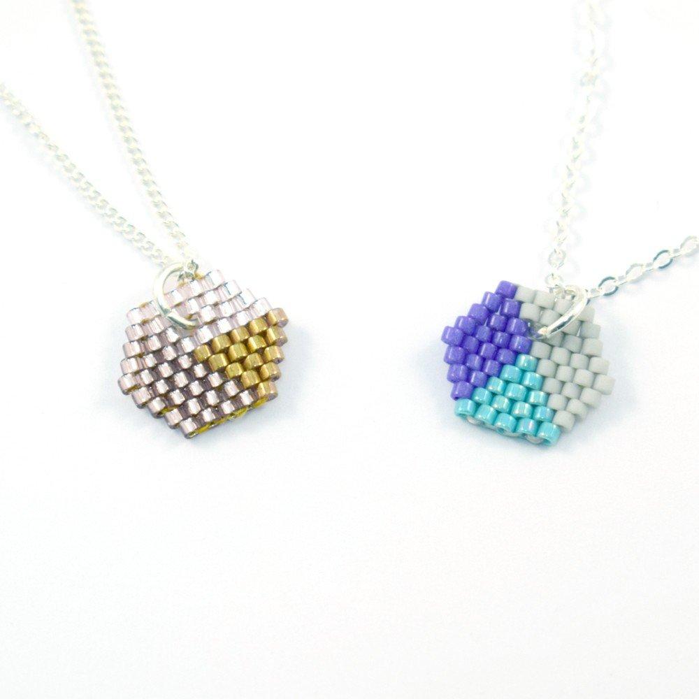 Brick stitch hexagons