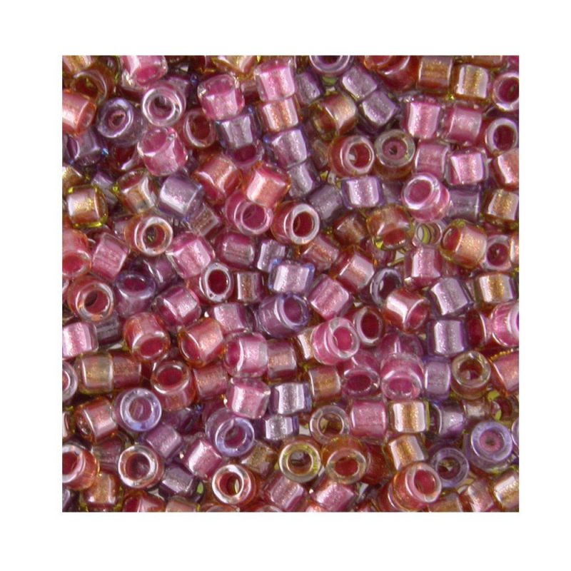 Miyuki Delica Size 11 DB982 Lined Purple/Salmon Mix