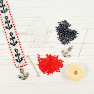 peyote beadweaving nautical anchor bracelet kit