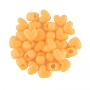 Opaque Neon Orange Plastic Heart Bead