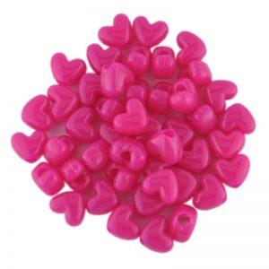 Opaque Neon Pink Plastic Heart Bead