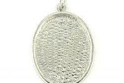 Pendant Blank Oval Rhodium Plated