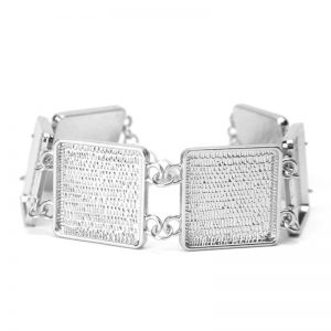 Bracelet Blank Square Rhodium Plated