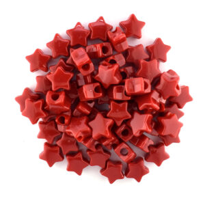 plastic star bead opaque red