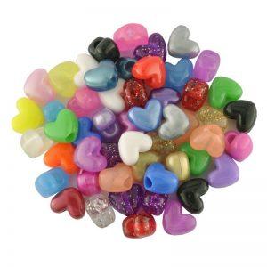 Plastic Bead Heart Mix