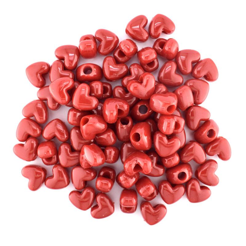 Plastic heart bead opaque red