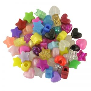 Plastic Bead Heart and Star Mix