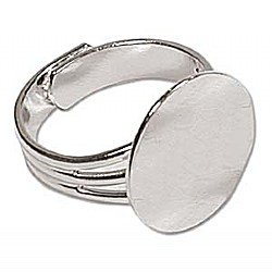 Ring Flat Pad 16mm Silver Plated