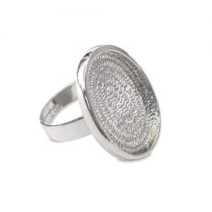 Ring Blank Oval Rhodium Plated