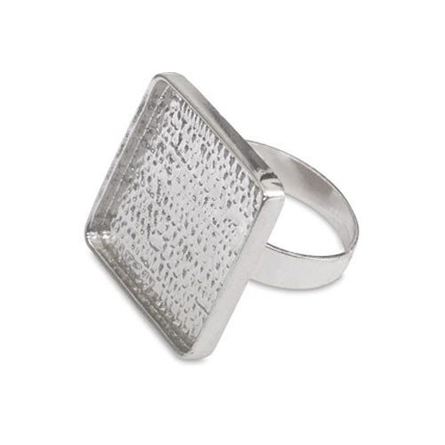 Ring Blank Square Rhodium Plated
