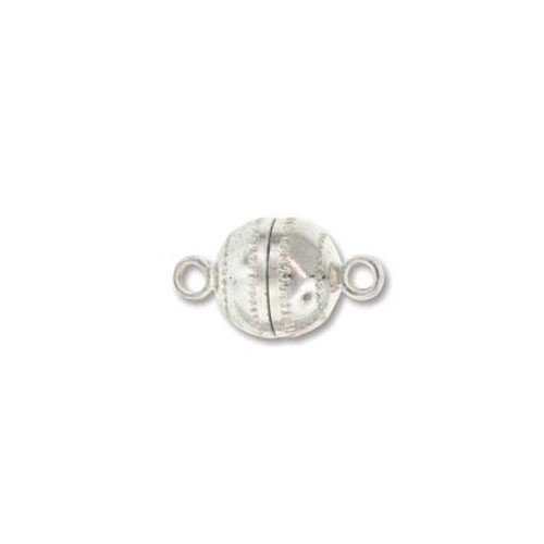 Magnetic clasp round silver plated