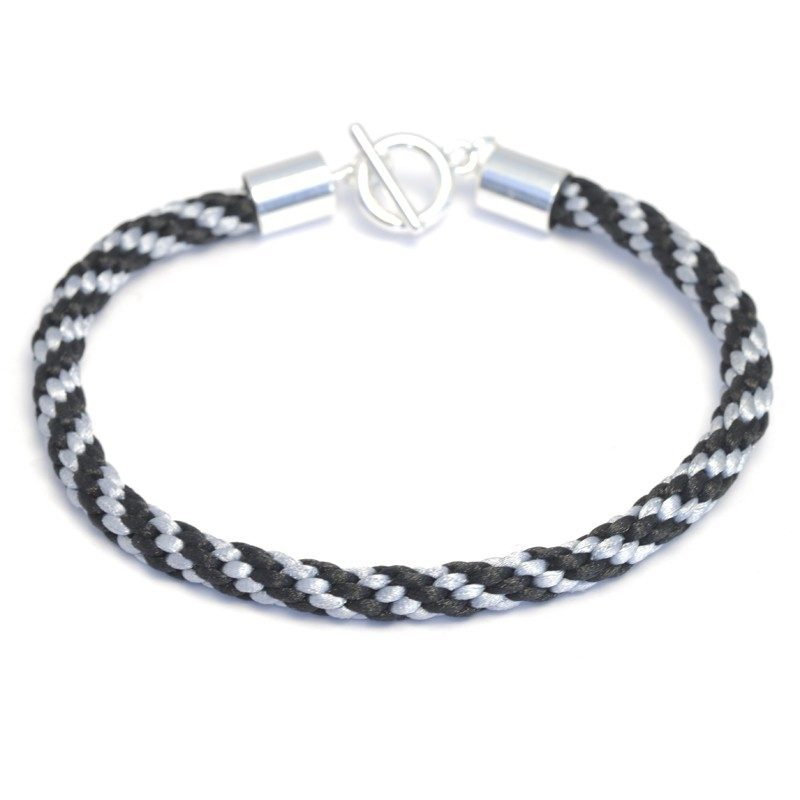 Kumihimo Bracelet Kit Silver/Black