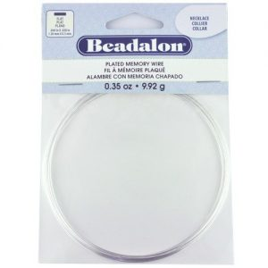 beadalon flat memory wire in silver plated finish