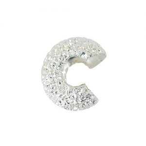 Crimp Cover 4mm Sparkle Silver Plated