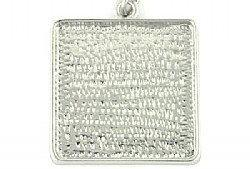 Pendant Blank Square Rhodium Plated