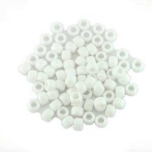 Opaque White Plastic Pony Bead