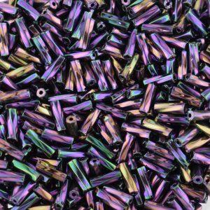 7mm Twisted Bugle Beads Iridescent Purple