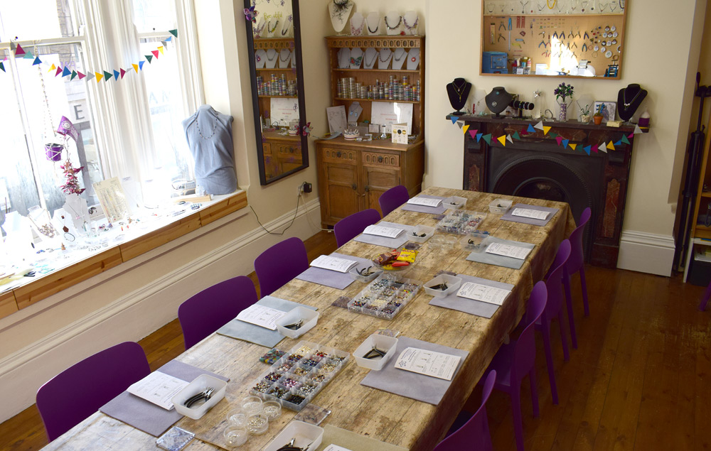 The Bead Shop workshop room ready for a jewellery making class