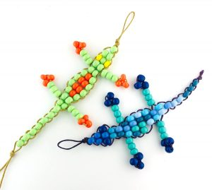Beaded geckos; lizards made from seed beads