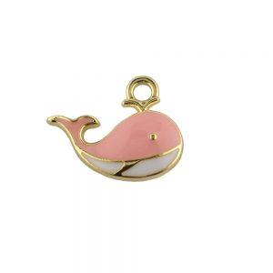 Pink Enamel Whale Charm