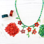 red trailing flowers necklace kit