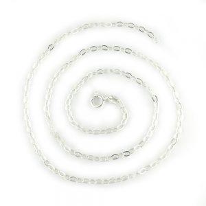 Sterling sliver hammered oval link necklace