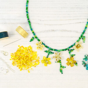 yellow trailing flowers necklace kit