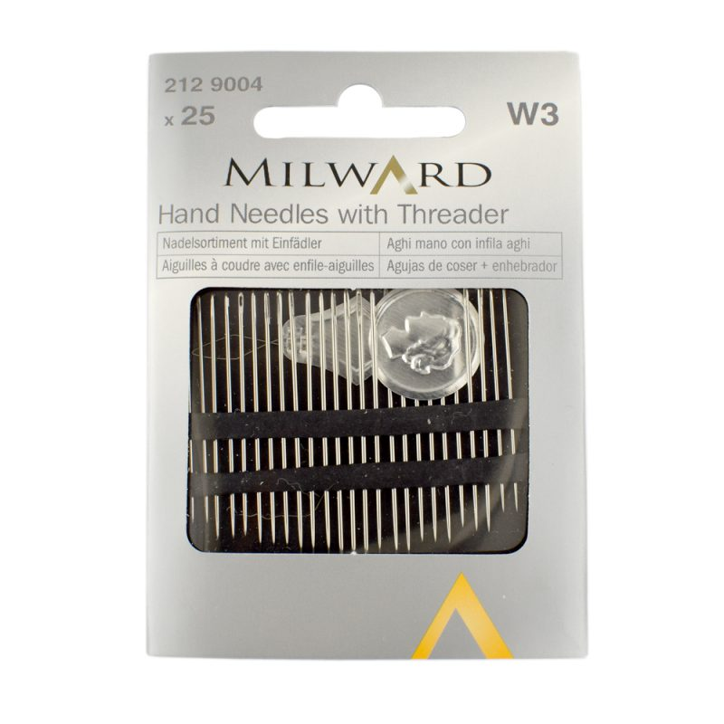 25 hand sewing needles with threader