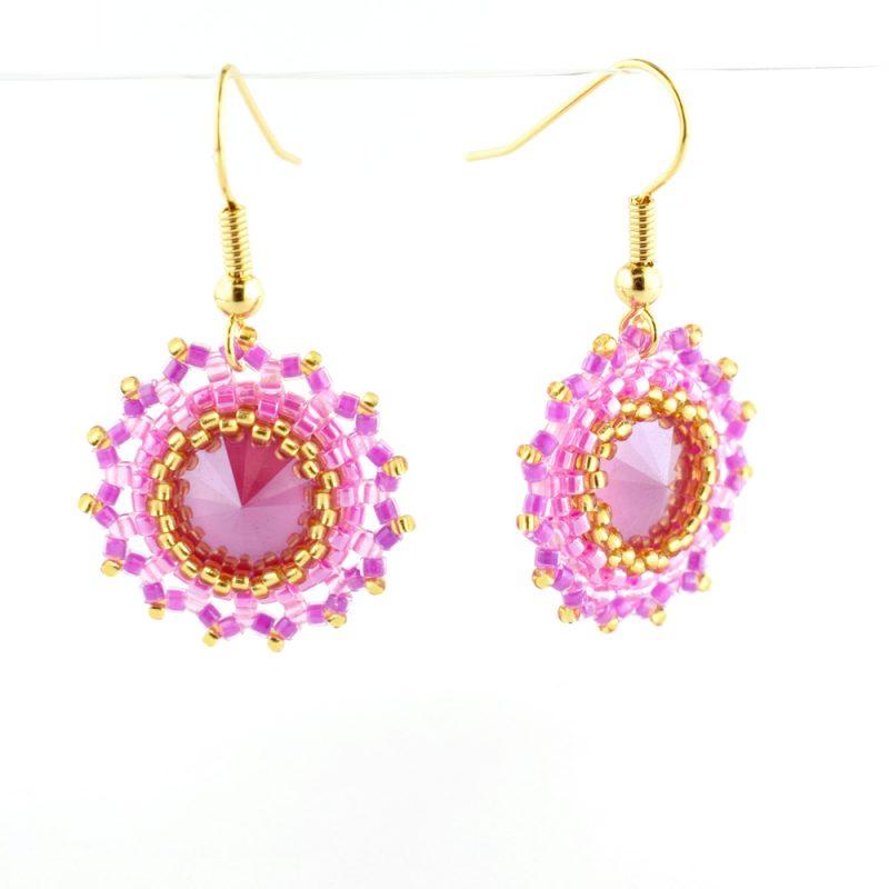 Pink Rivoli Bezel Earrings