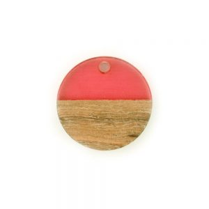 18mm round resin and wood pendant