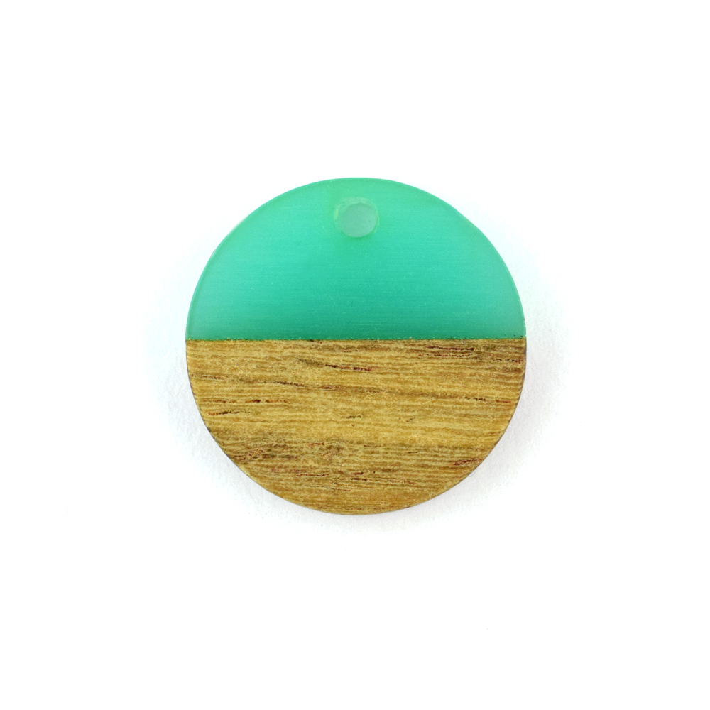 18mm round wooden and resin turquoise